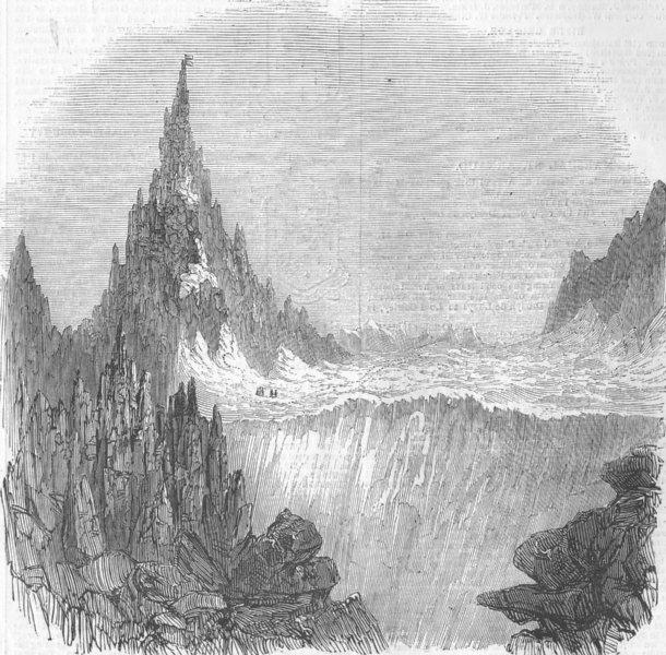 Associate Product SWITZERLAND. Monte Rosa; Zumsteen & Hochste Spitze, antique print, 1854