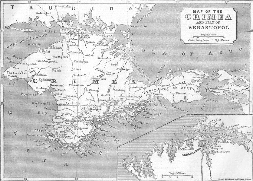 Associate Product UKRAINE. Crimea Expedition. Map of & plan Sevastopol, antique print, 1854
