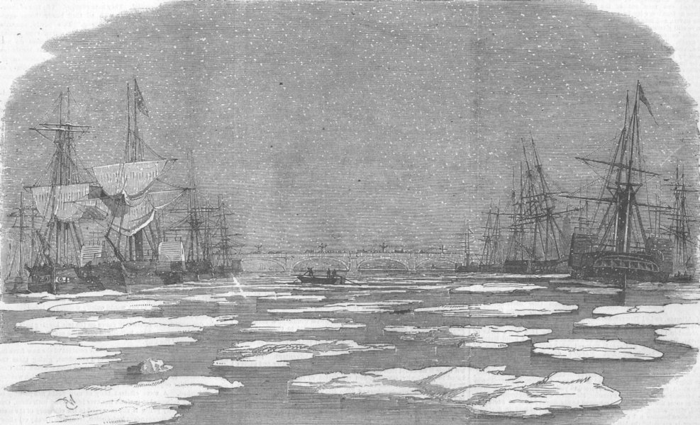 Associate Product LONDON. Thames below bridge, during frost, antique print, 1854