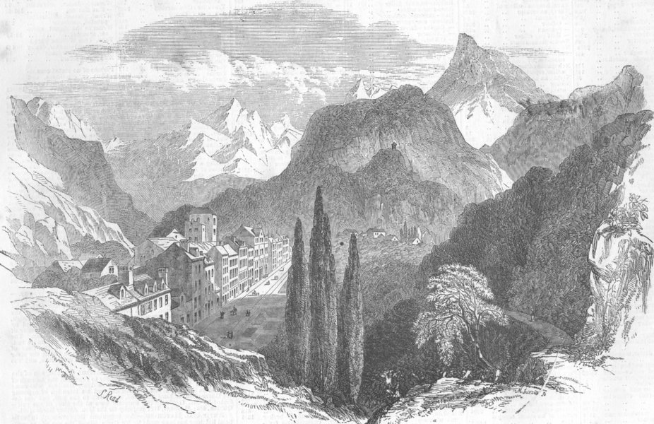 Associate Product FRANCE. Eaux Bonnes, Pyrenees, antique print, 1854