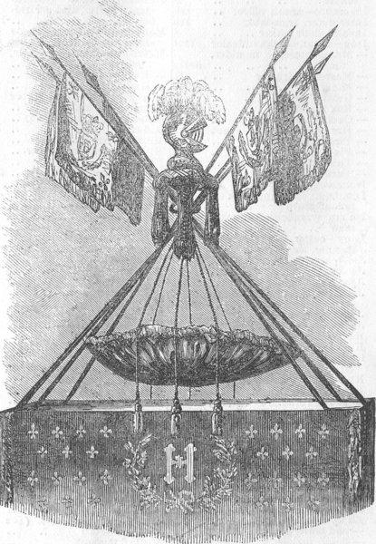 Associate Product FRANCE. Cradle of Henri IV, Chateau, Pau, antique print, 1854