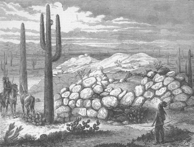 Associate Product ARIZONA. The Painted Rocks of Arizona, antique print, 1876