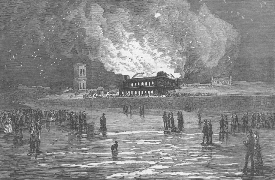 Associate Product YORKS. Burning of Scarborough Spa Saloon, antique print, 1876