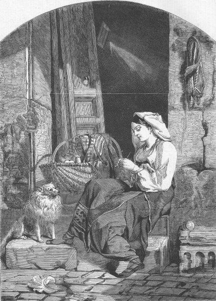Associate Product FAMILIES. La Culla, antique print, 1858