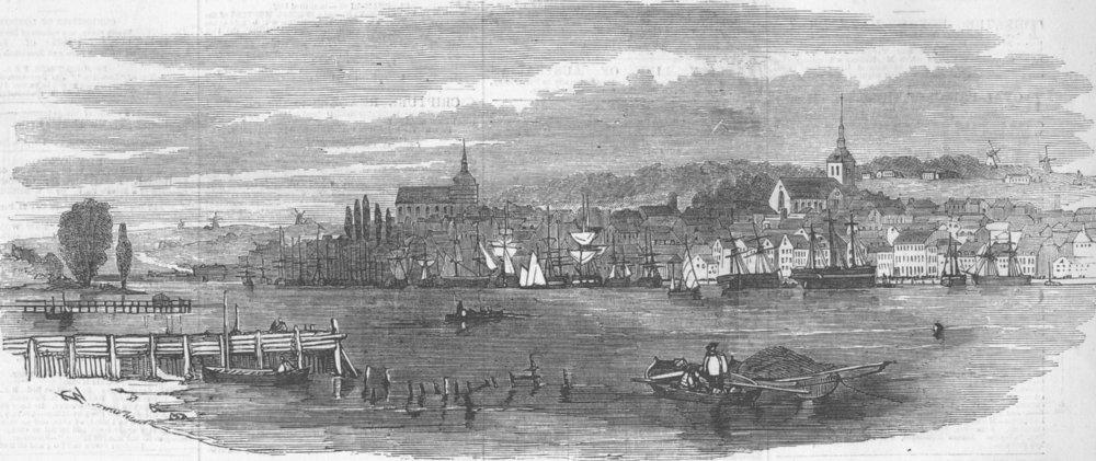 Associate Product GERMANY. Flensburg, antique print, 1854