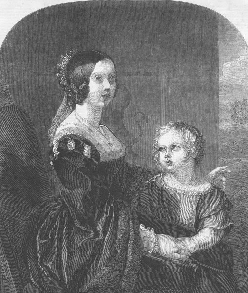 Associate Product ROYALTY. Queen Victoria & Albert, Prince of Wales, antique print, 1849