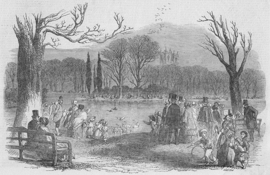 Associate Product LONDON. Spring-St James's Park, antique print, 1849