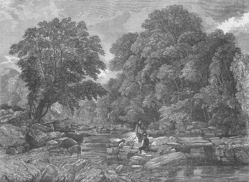 Associate Product WALES. River scene, North Wales, antique print, 1849