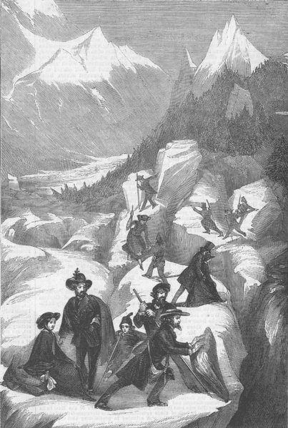 Associate Product FRANCE. Party of tourists crossing Mer de Glace, antique print, 1858
