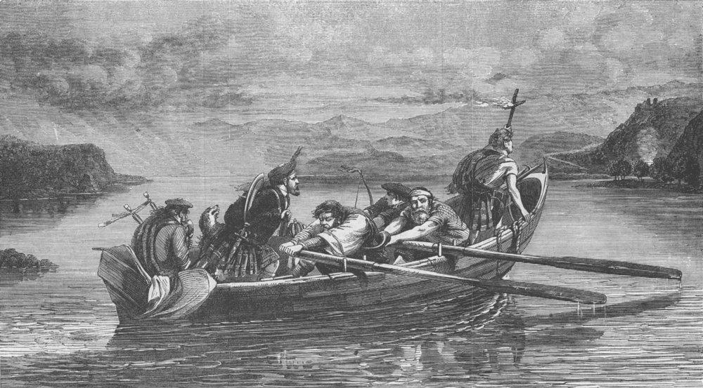 Associate Product SCOTLAND. The Fiery Cross, antique print, 1863