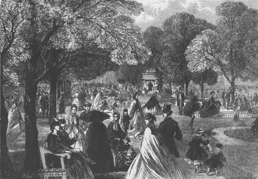 Associate Product LONDON. Garden, Regent's Park, antique print, 1863