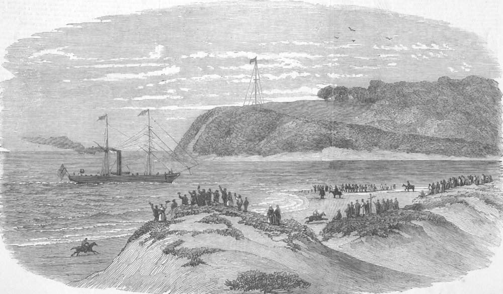 Associate Product SOUTH AFRICA. Entry of 1st mail ship into Bay Natal, antique print, 1852