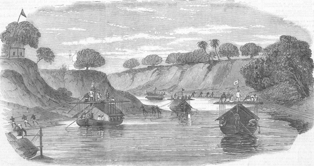 Associate Product INDIA. Loodianah(Gordon's Sikhs), Goumtee river, antique print, 1852
