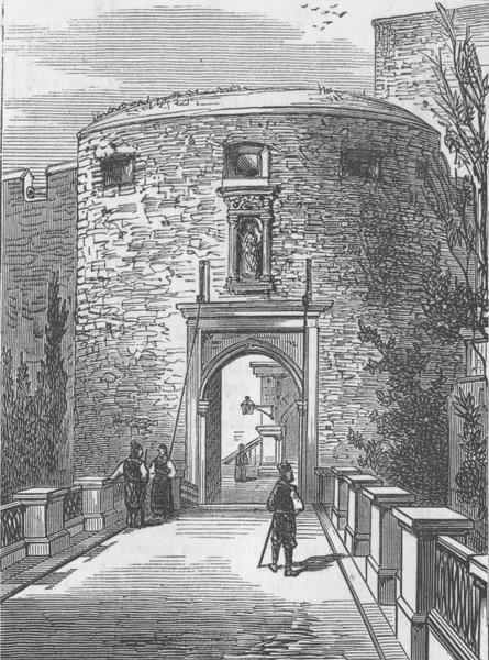 Associate Product CROATIA. Pile Gate, Dubrovnik, antique print, 1876