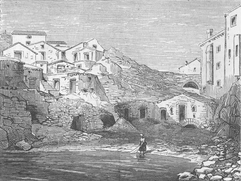 Associate Product CROATIA. Tide execution cells, Dubrovnik, antique print, 1876