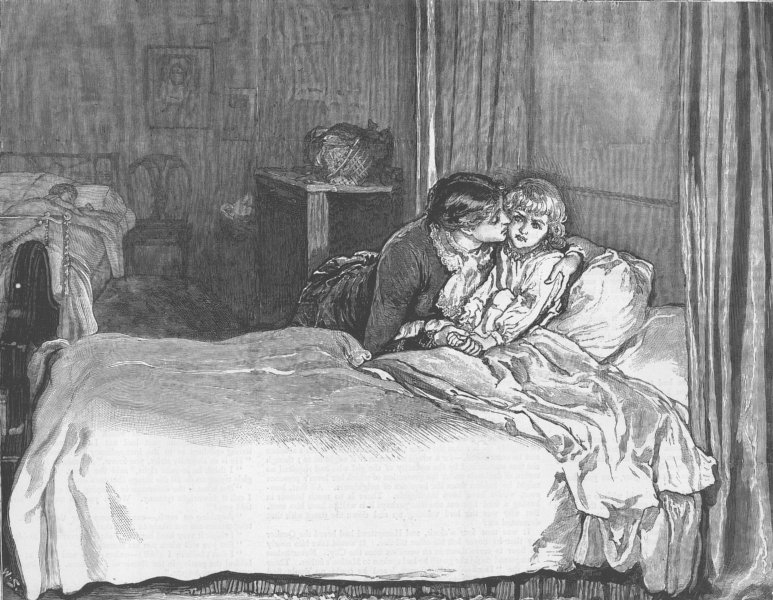 Associate Product CHILDREN. Kissing a child to sleep, antique print, 1882