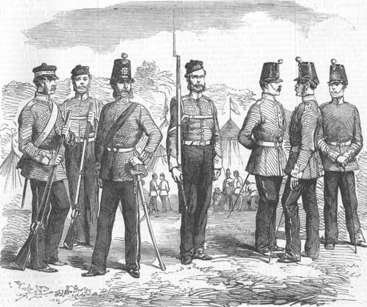 CANADA. 100th(Prince of Wales Royal Canadian) Regt, antique print, 1858