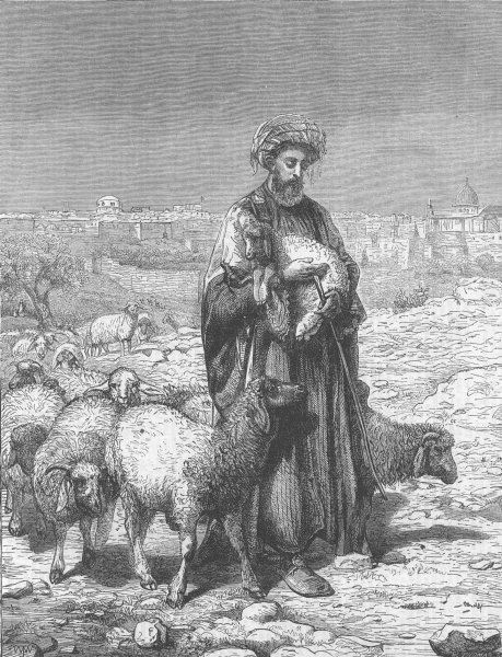 Associate Product ISRAEL. The Shepherd of Jerusalem, antique print, 1863