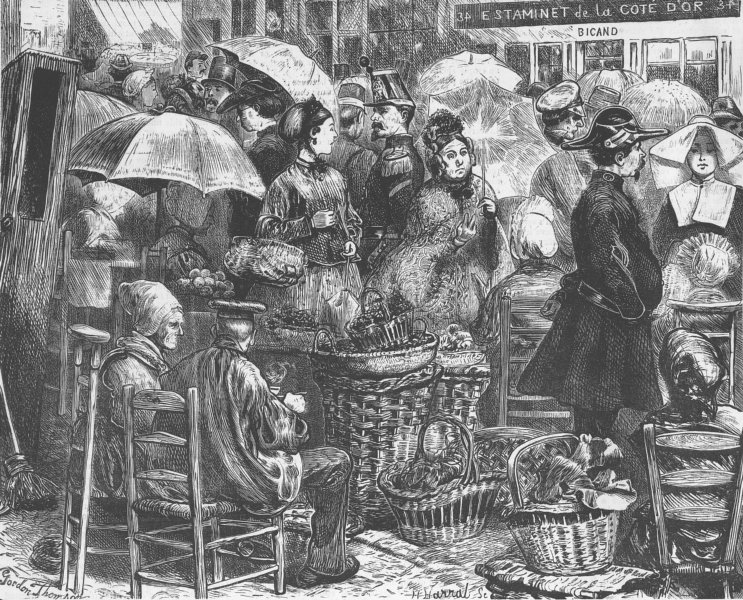 FRANCE. Market, Boulogne, antique print, 1870