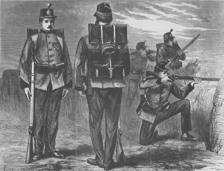 Associate Product MILITARIA. The new Military kit, antique print, 1870