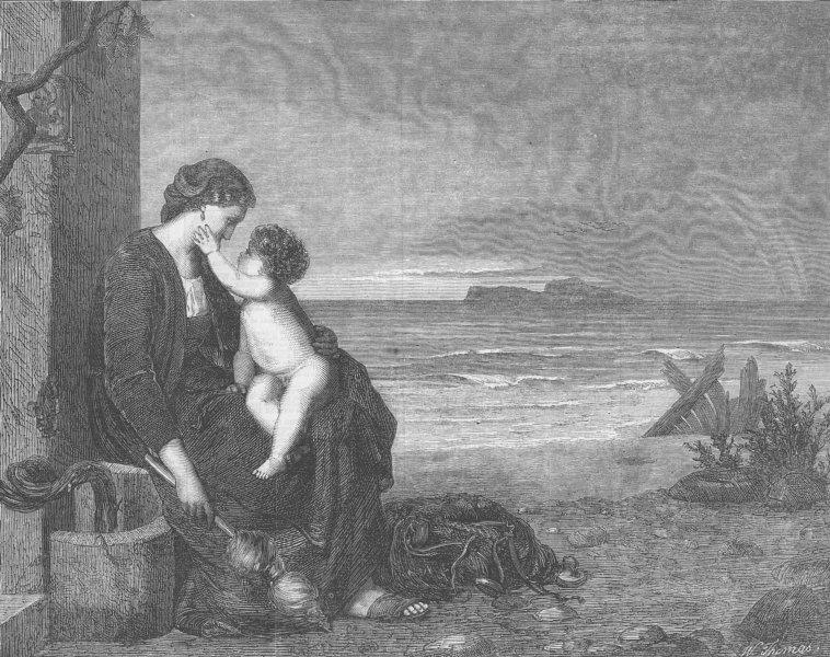 CHILDREN. The widow's consolation, antique print, 1867