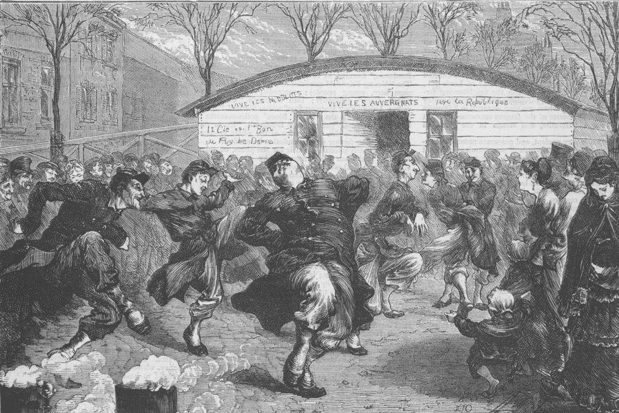 FRANCE. Dance of Moblots, antique print, 1870