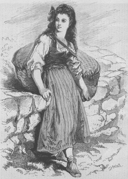 Associate Product FRANCE. Marguerite Chauvel(Erckmann-Chatrian), antique print, 1870