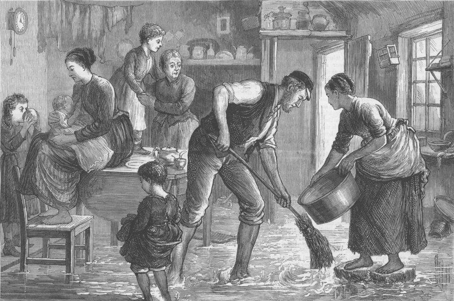 Associate Product LONDON. Thames overflow-workman's house, Blackwall, antique print, 1877