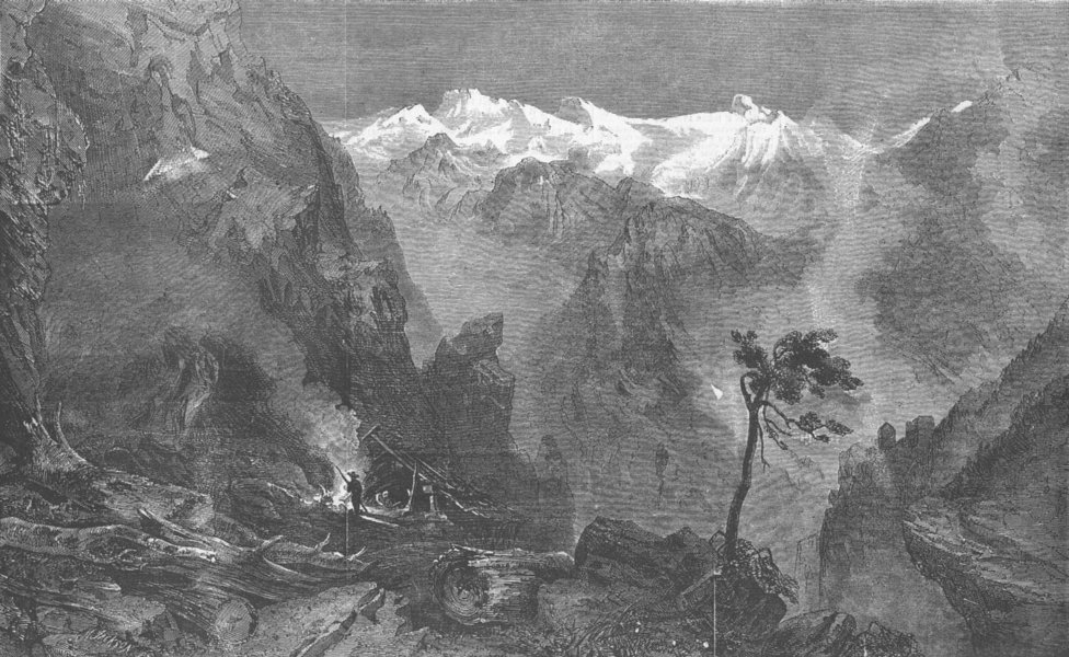 Associate Product AUSTRIA. Charcoal-burning, Tyrolese Alps, antique print, 1858
