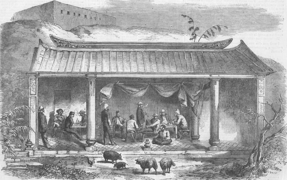 Associate Product CHINA. Opium Wars. Mess-Room, North Wantong, antique print, 1858