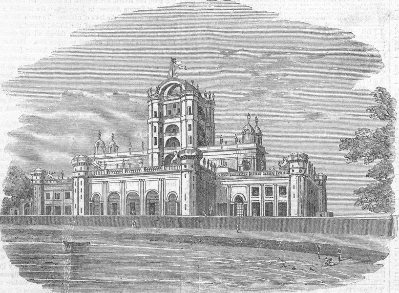 INDIA. Constantia, Martinere College, nr Lucknow, antique print, 1858