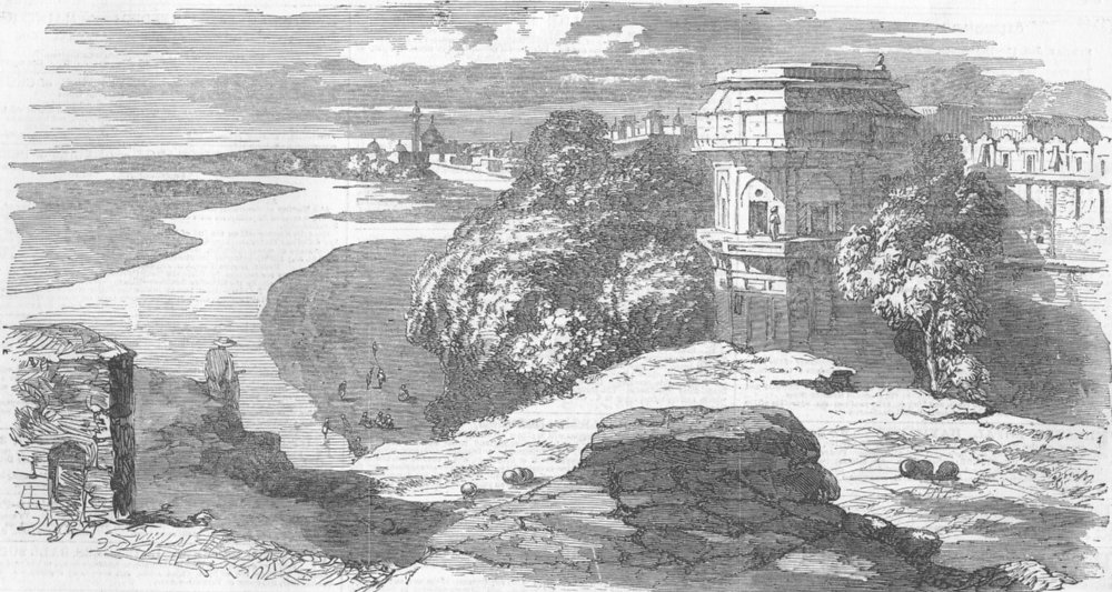 Associate Product INDIA. Delhi from Selimghur, looking down Yamuna, antique print, 1858