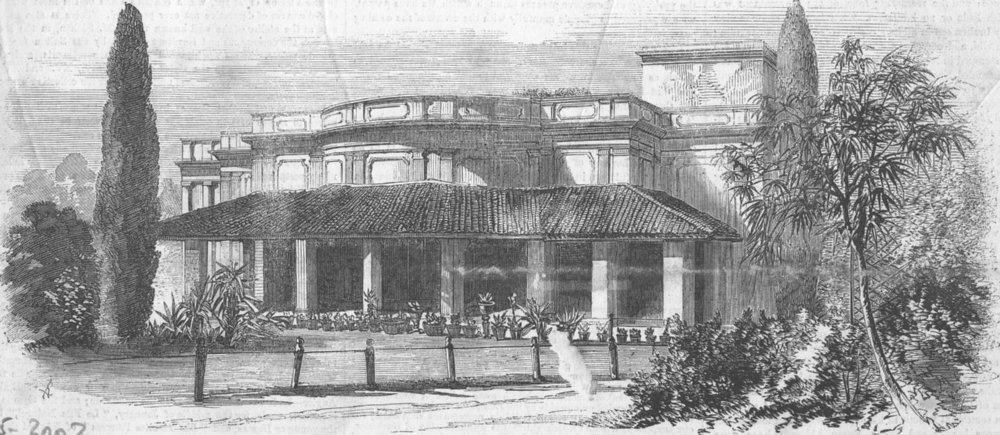 Associate Product INDIA. Lucknow-Townhouse of Capt Hayes , antique print, 1858