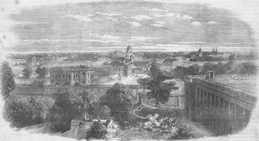 Associate Product INDIA. Lucknow-Observatory, antique print, 1858
