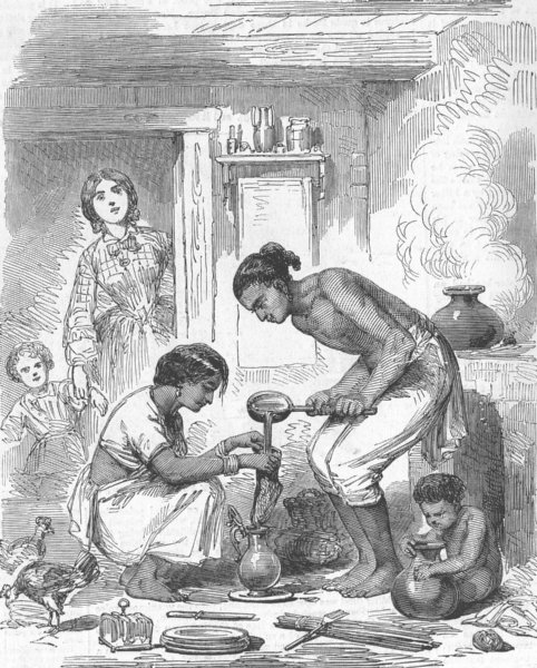 Associate Product INDIA. Indian cook house-straining coffee, antique print, 1858