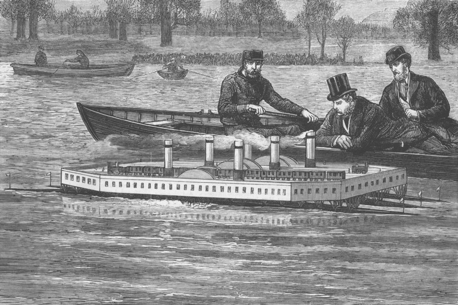 Associate Product LONDON. Trial of New Steam Channel Ferry, Serpentine, antique print, 1876