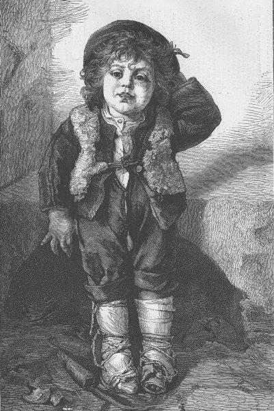 CHILDREN. Piccolo, antique print, 1874