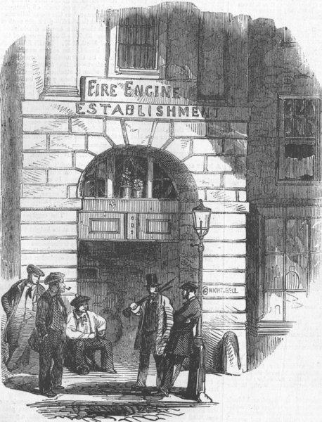 Associate Product LONDON. Chandos St Fire Engine Station, antique print, 1858