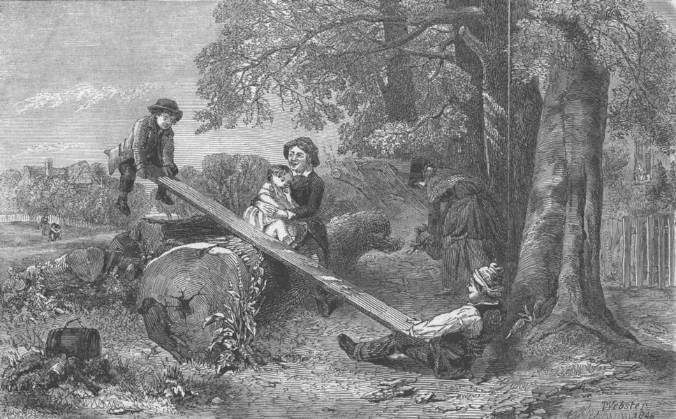 Associate Product CHILDREN. Royal Academy. See-Saw, antique print, 1849
