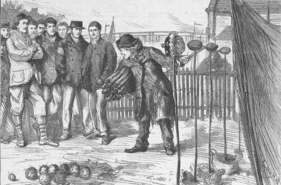 Associate Product LONDON. Oxbridge boat race. Leisure hour-Bank, Putney, antique print, 1873
