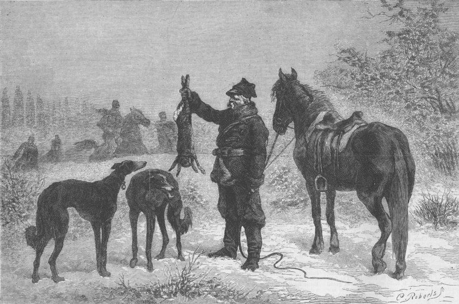 Associate Product HUNTING. Caught at last, antique print, 1873