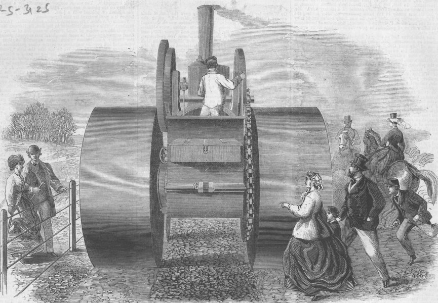 Associate Product LONDON. Steam Rd-roller used, Hyde Park, antique print, 1866