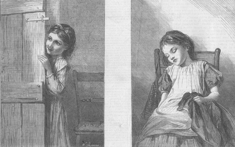 Associate Product CHILDREN. In mischief-out of mischief, antique print, 1866
