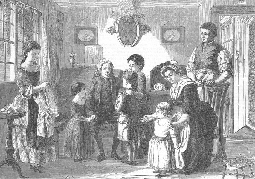 Associate Product CHILDREN. Dr Watts visiting his little friends, antique print, 1853