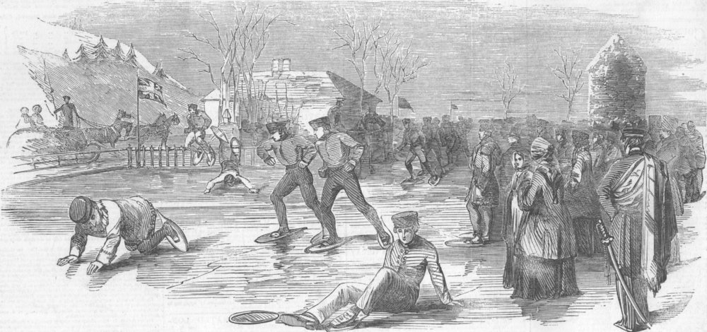 Associate Product CANADA. Snow-Shoe Hurdle-Race, Montreal, antique print, 1853