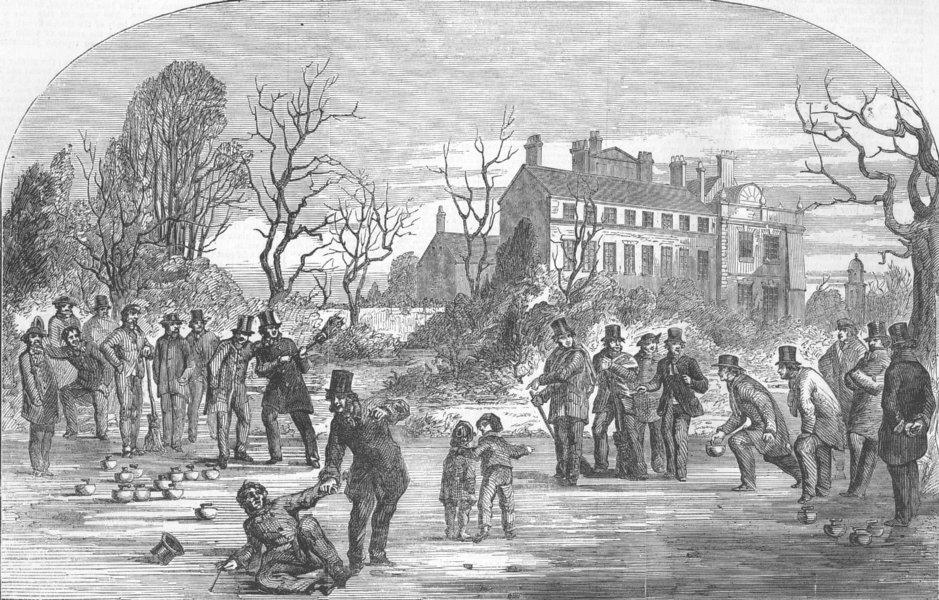 Associate Product LANCS. Curling, at Croxteth Hall, antique print, 1853