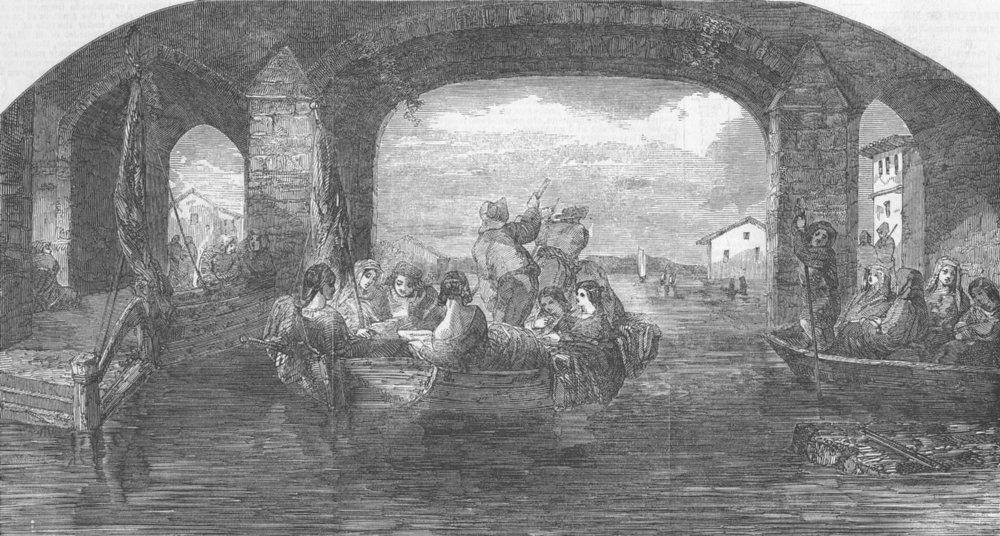 Associate Product LANDSCAPES. Pleasure-Boats, Danube-Morning, antique print, 1853
