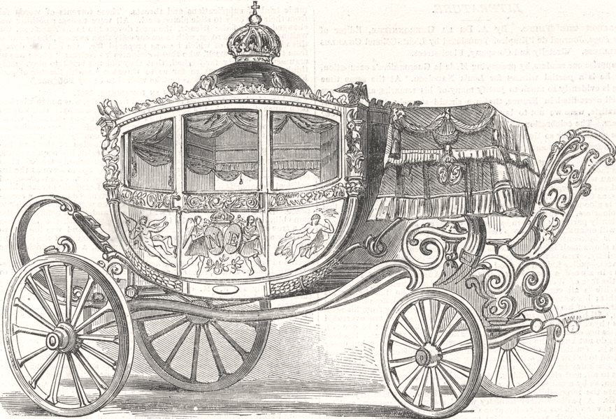 Associate Product FRANCE. The imperial state carriage, antique print, 1853