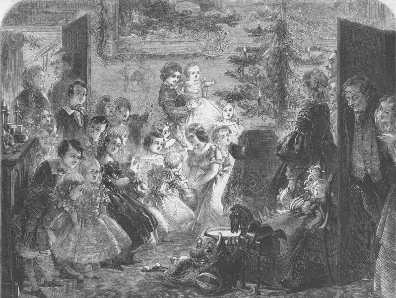 Associate Product CHRISTMAS TREE. Family, Victorian Xmas, antique print, 1858