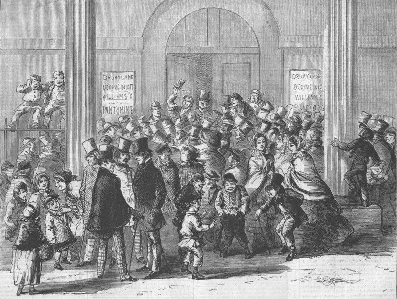 Associate Product LONDON. Drury Lane theatre-Engaging for pantomime, antique print, 1858